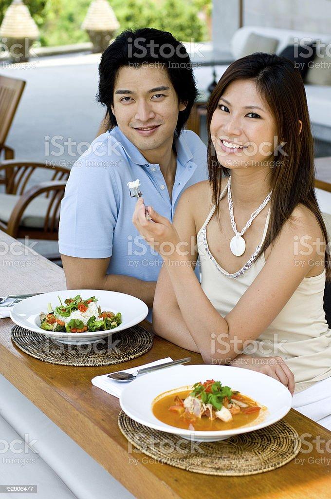 Couple Eating stock photo