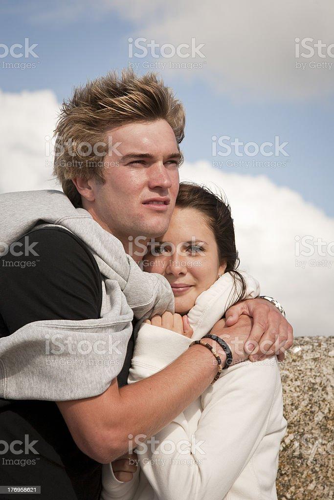 Couple embrace stock photo