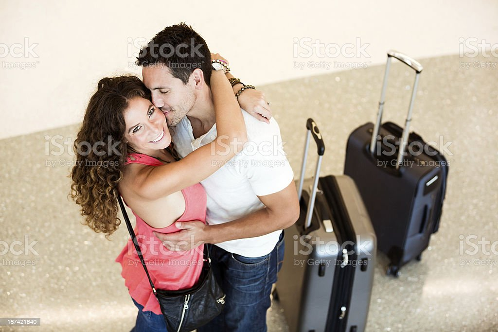 Couple embraced at airport. royalty-free stock photo