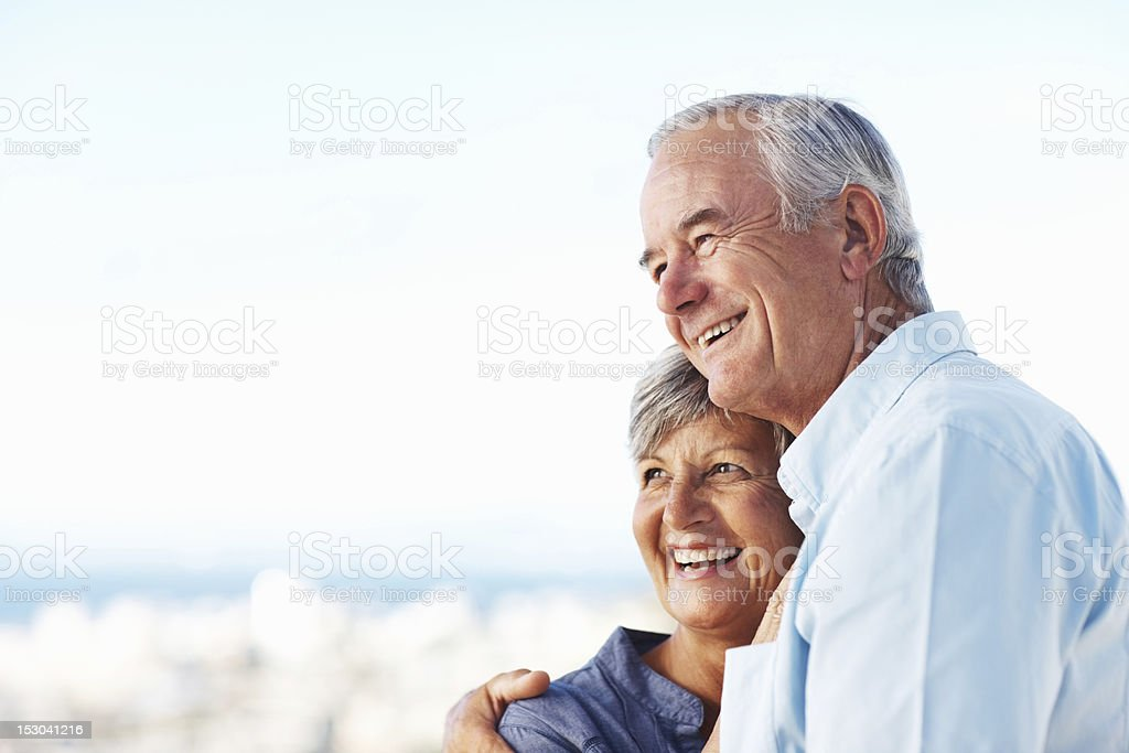 Couple embracing outdoors royalty-free stock photo