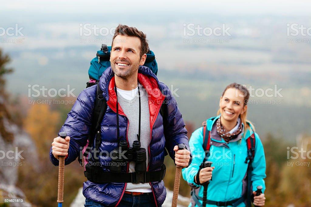 Couple enjoy the view stock photo