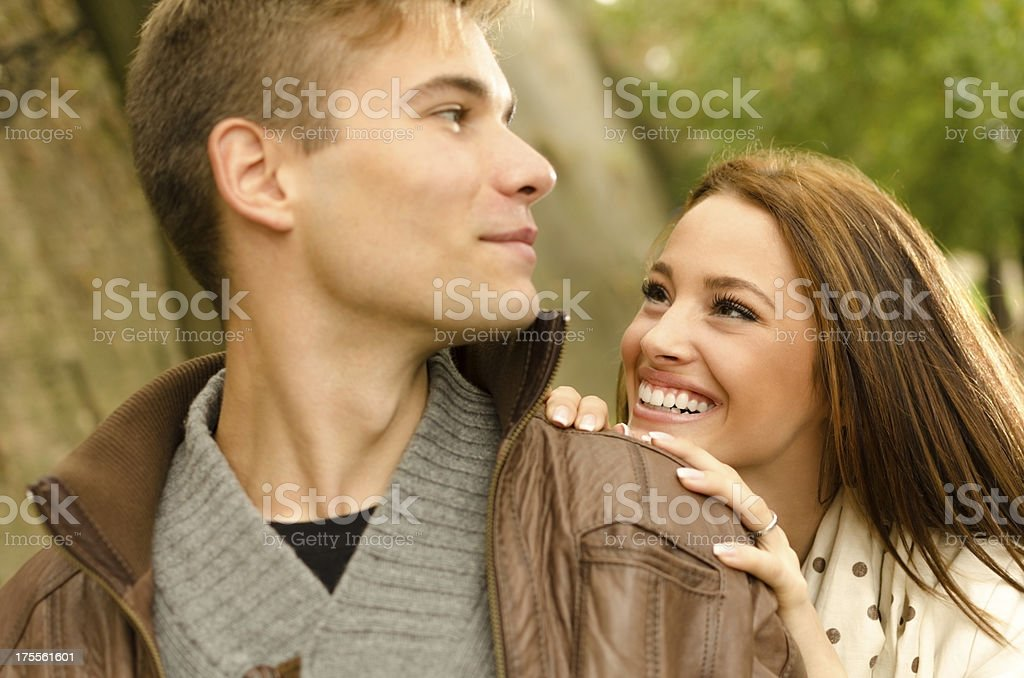 Couple enjoy their love and presence of eachother royalty-free stock photo
