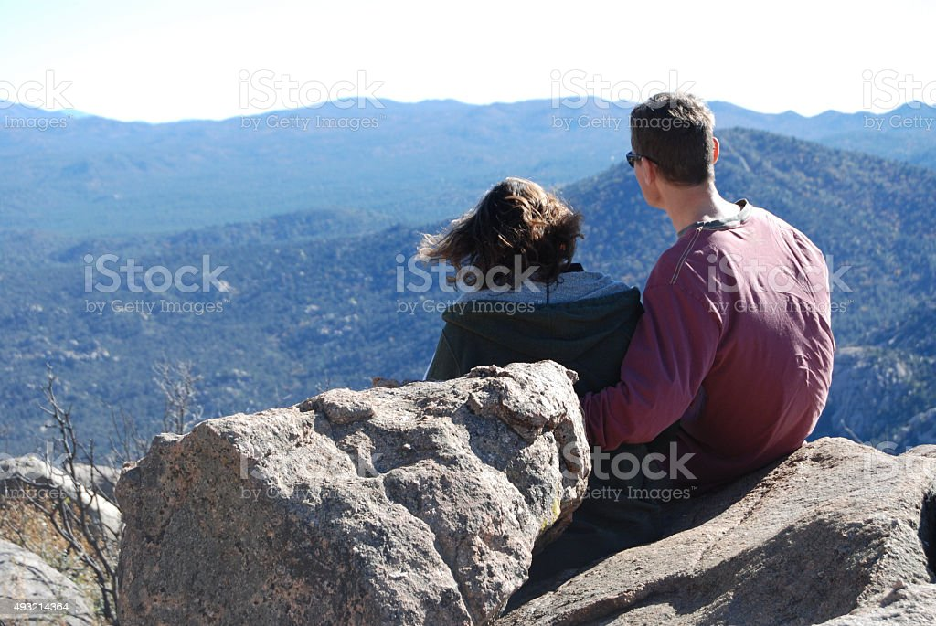 Couple Enjoying a Desert View stock photo