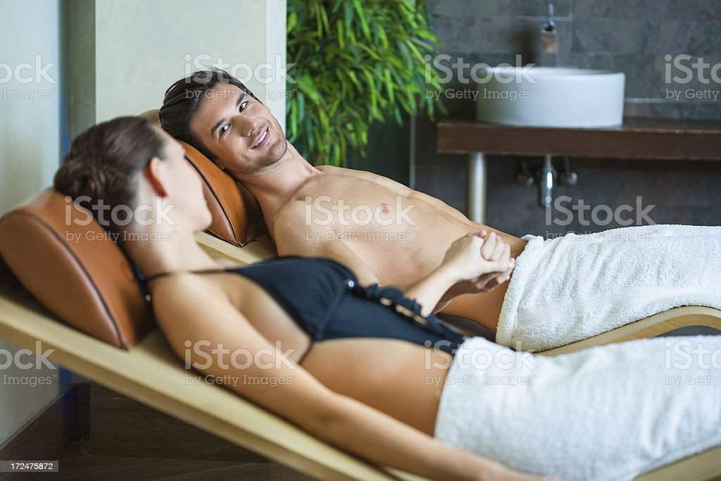 Couple enjoying at beauty spa royalty-free stock photo