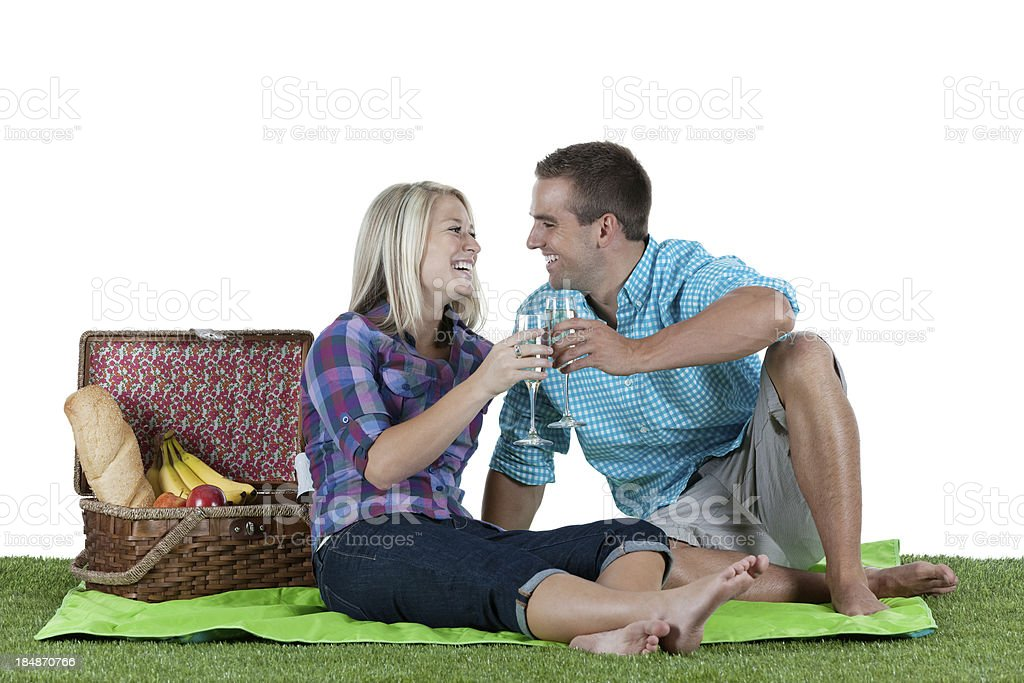 Couple enjoying at picnic royalty-free stock photo