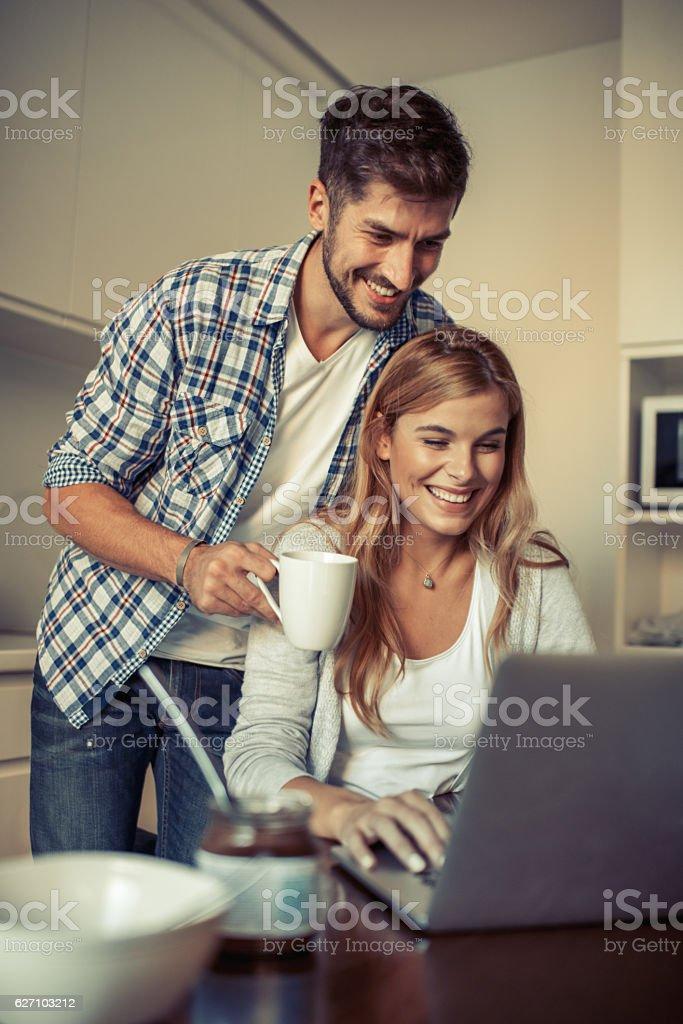 Couple enjoying breakfast stock photo