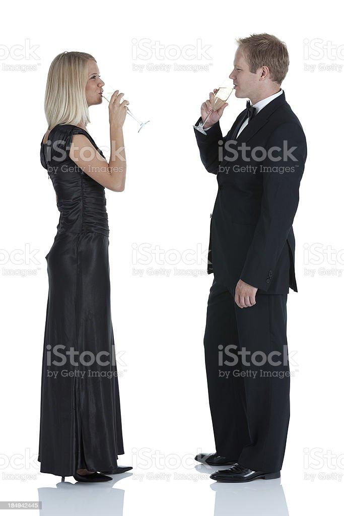 Couple enjoying champagne royalty-free stock photo