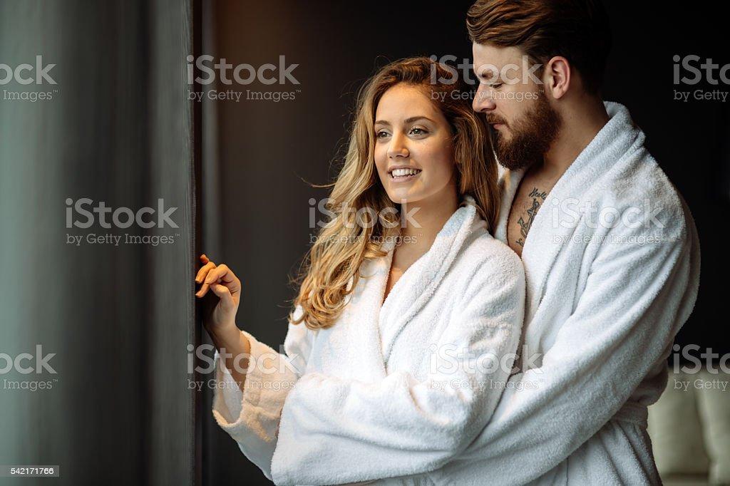 Couple enjoying honeymoon stock photo