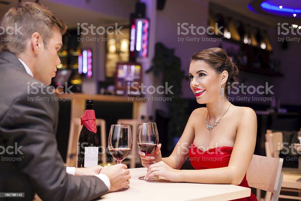 couple enjoying in a restaurant royalty-free stock photo