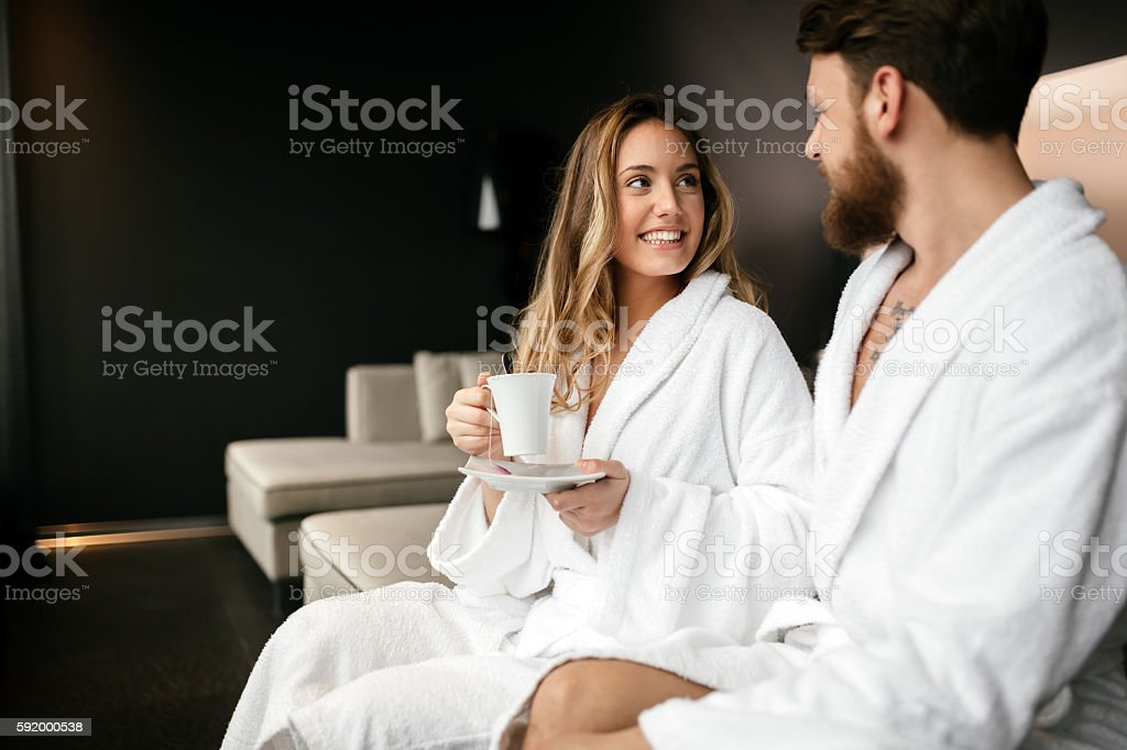 Couple enjoying morning tea stock photo