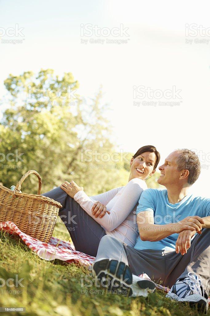 Couple enjoying picnic together royalty-free stock photo