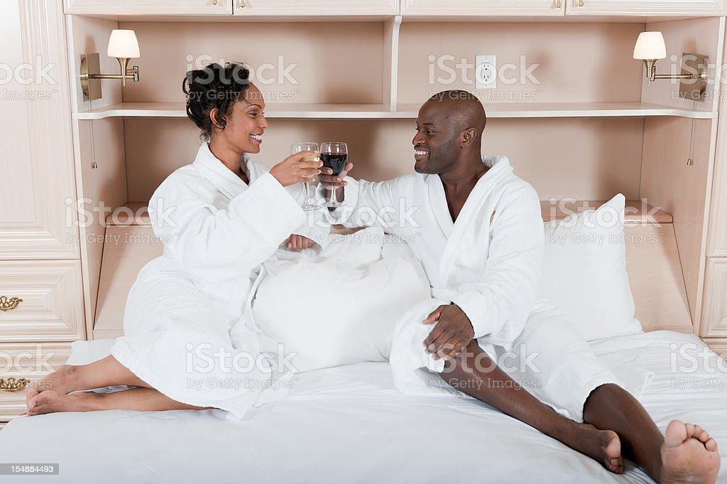 Couple Enjoying Room Service royalty-free stock photo