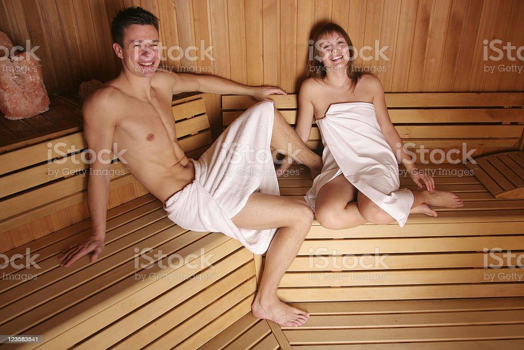 Couple enjoying sauna royalty-free stock photo