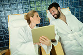 Couple enjoying spa treatments and relaxing