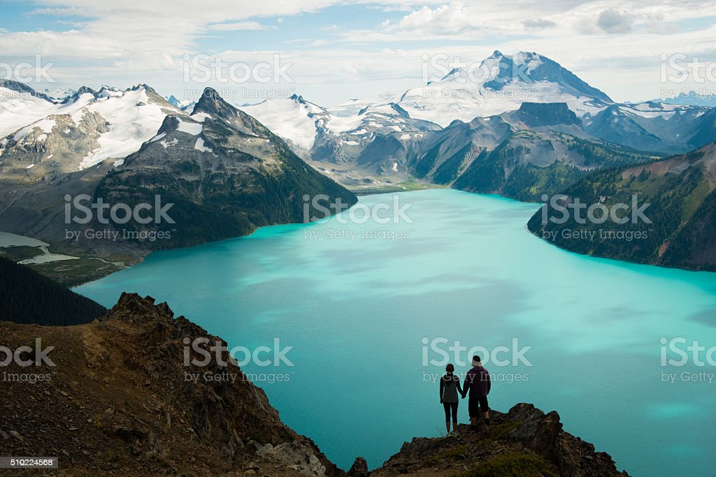 Couple enjoying the beautiful outdoors stock photo
