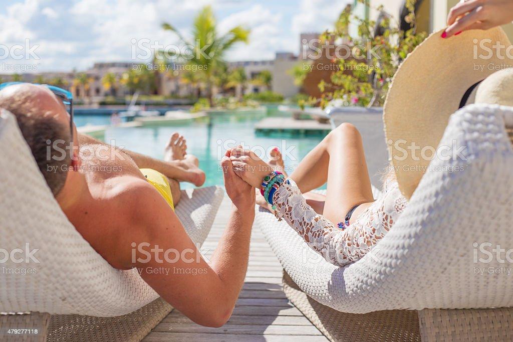 Couple enjoying vacation stock photo
