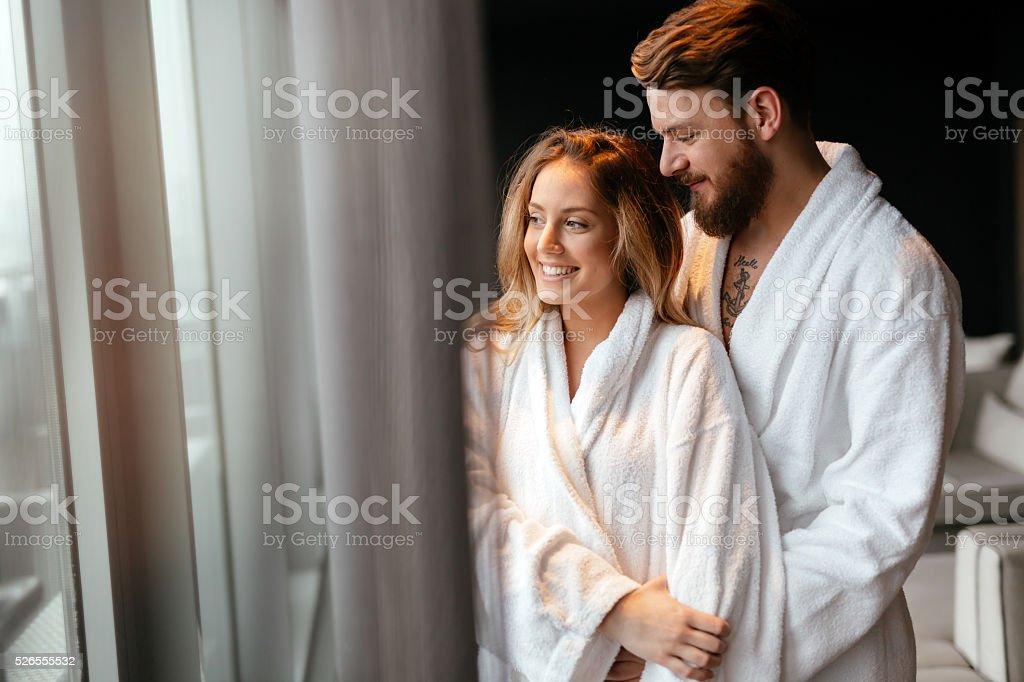 Couple enjoying wellness weekend stock photo