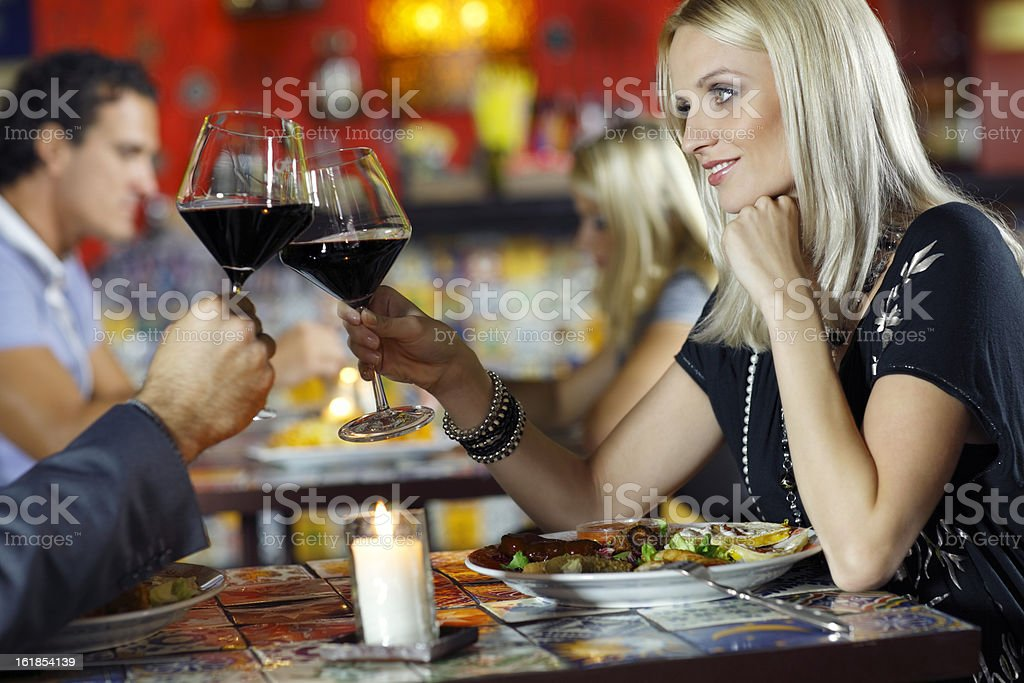 couple enjoys Mexican food dishes royalty-free stock photo