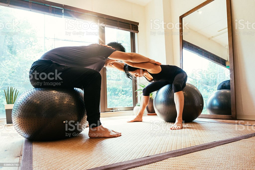 Couple Exercising Together stock photo