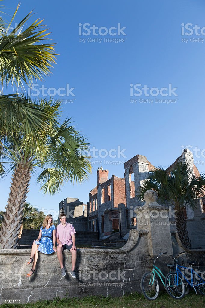 Couple Exploring Cumberland Island stock photo