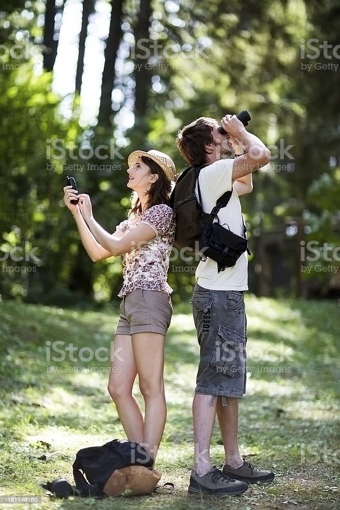 Couple Exploring Forrest royalty-free stock photo