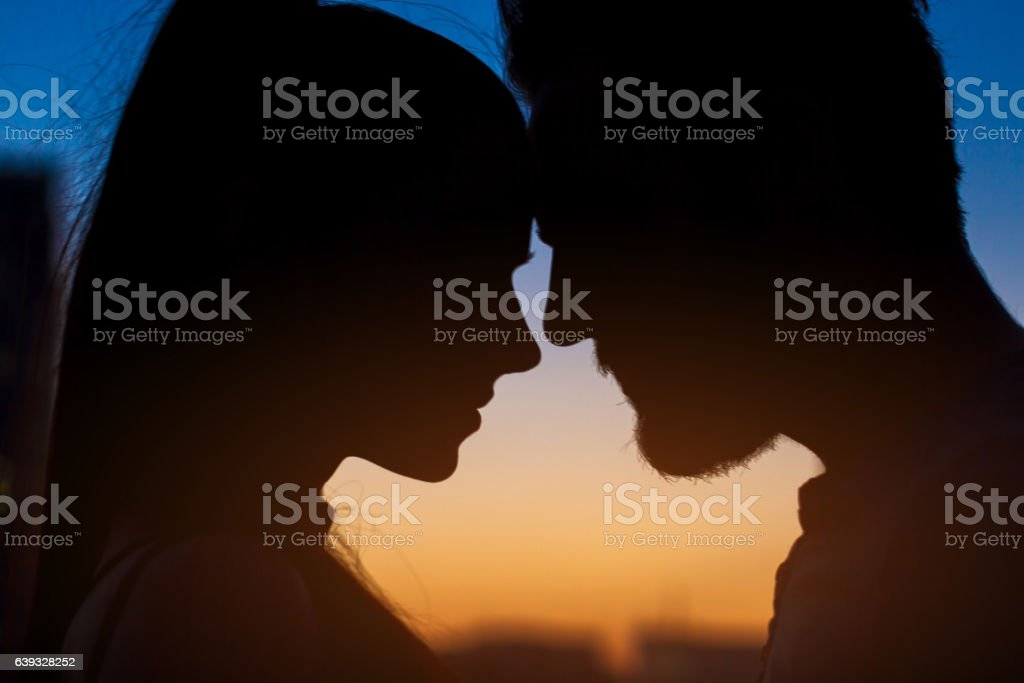 Couple face silhouette. stock photo