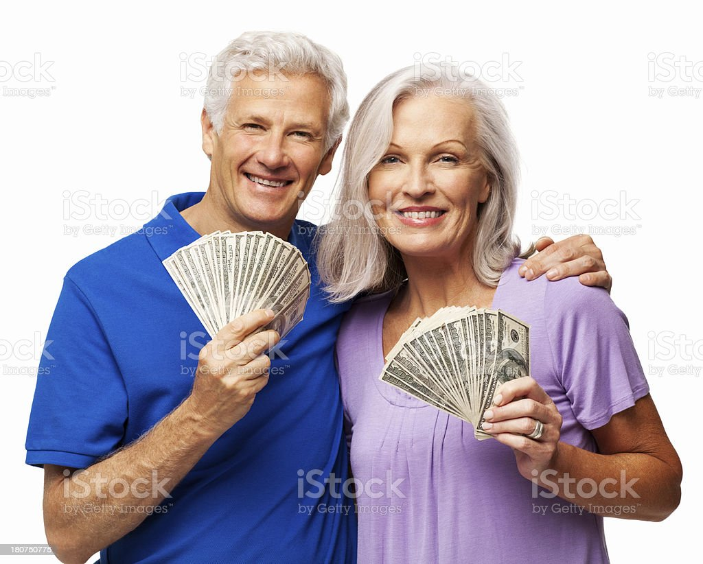 Couple Fanning Out Cash - Isolated royalty-free stock photo