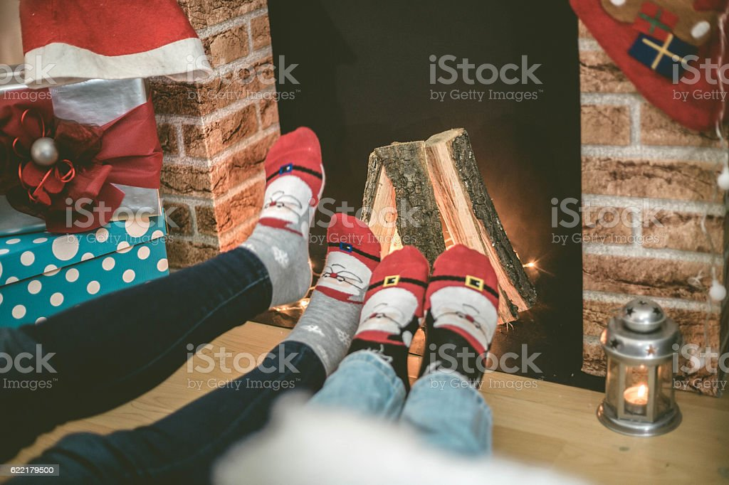 Couple feet in front of fire stock photo