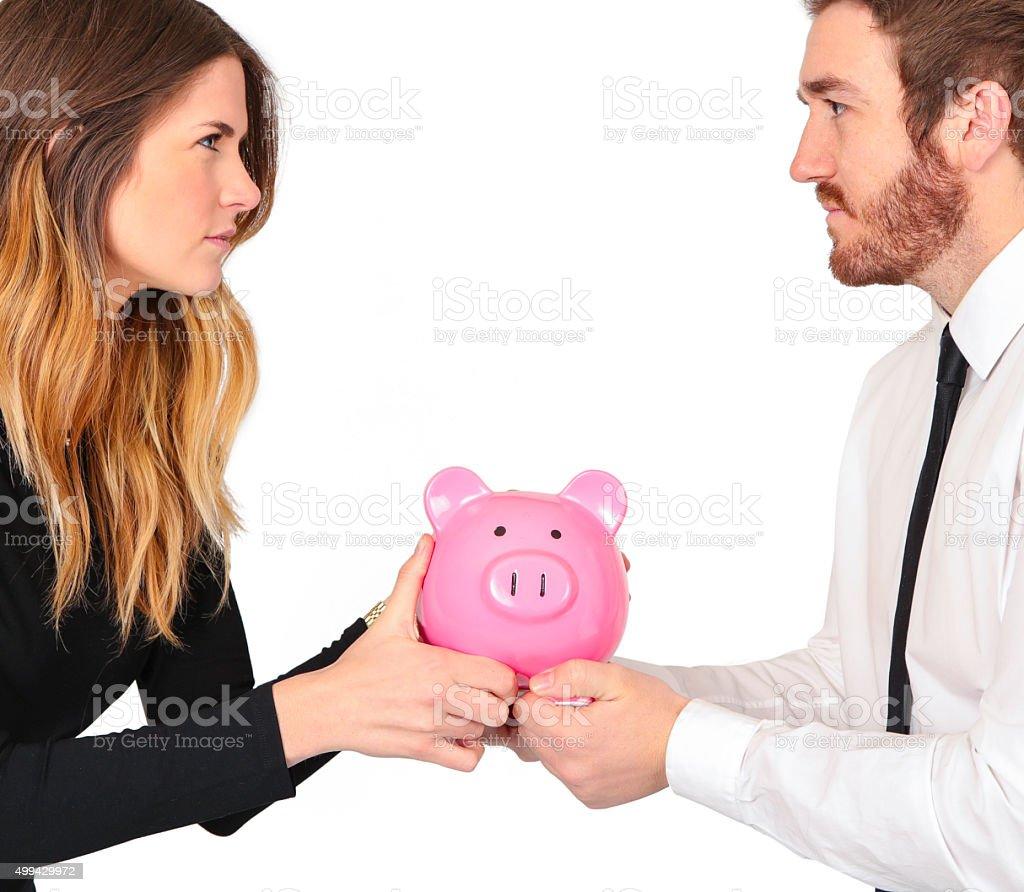 Couple fight over money stock photo