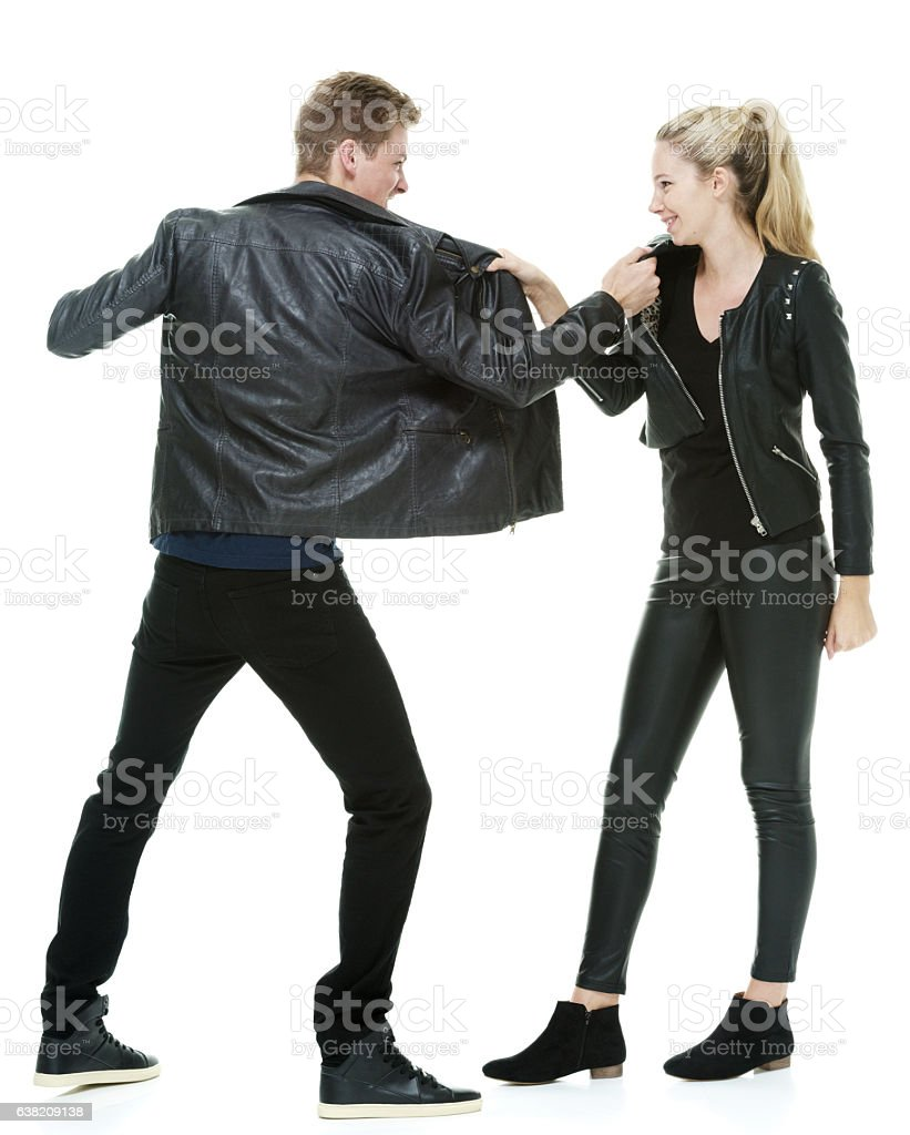 Couple fighting together stock photo
