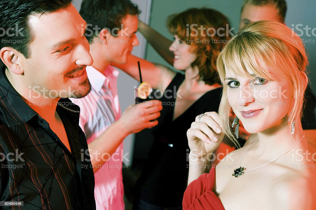 Couple flirting in a bar royalty-free stock photo