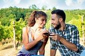 Couple Flirting near a Vineyard
