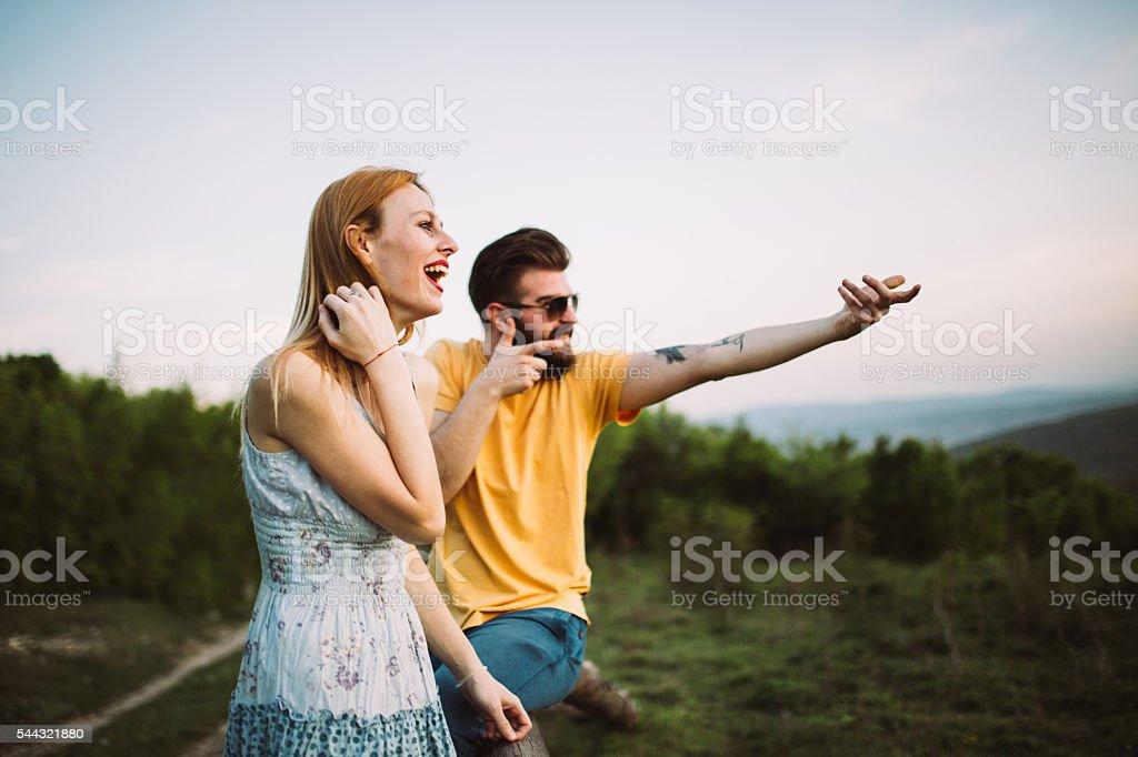 Couple fun on mountain stock photo