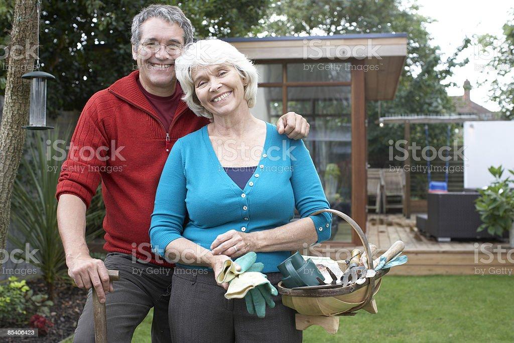 Couple gardening royalty-free stock photo