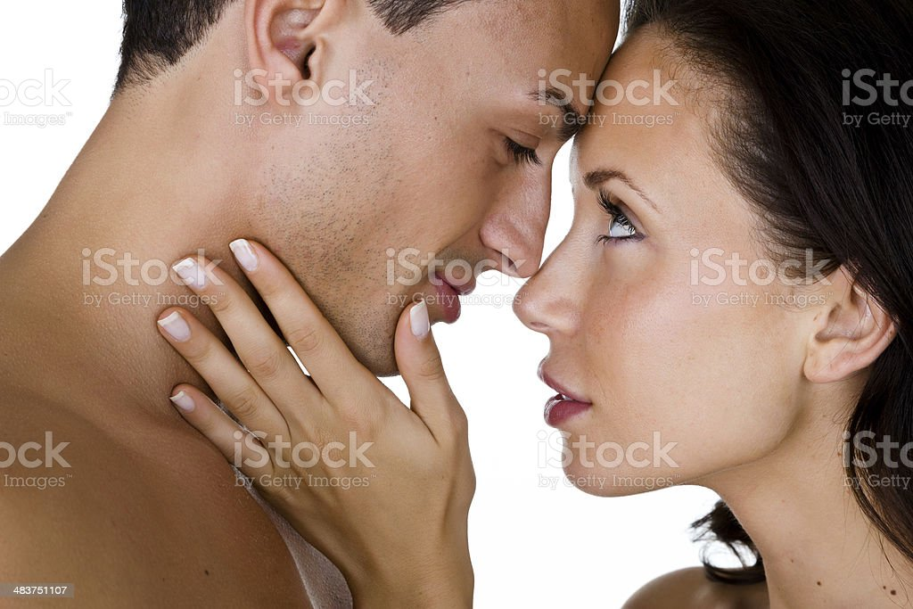 Couple getting ready to kiss royalty-free stock photo