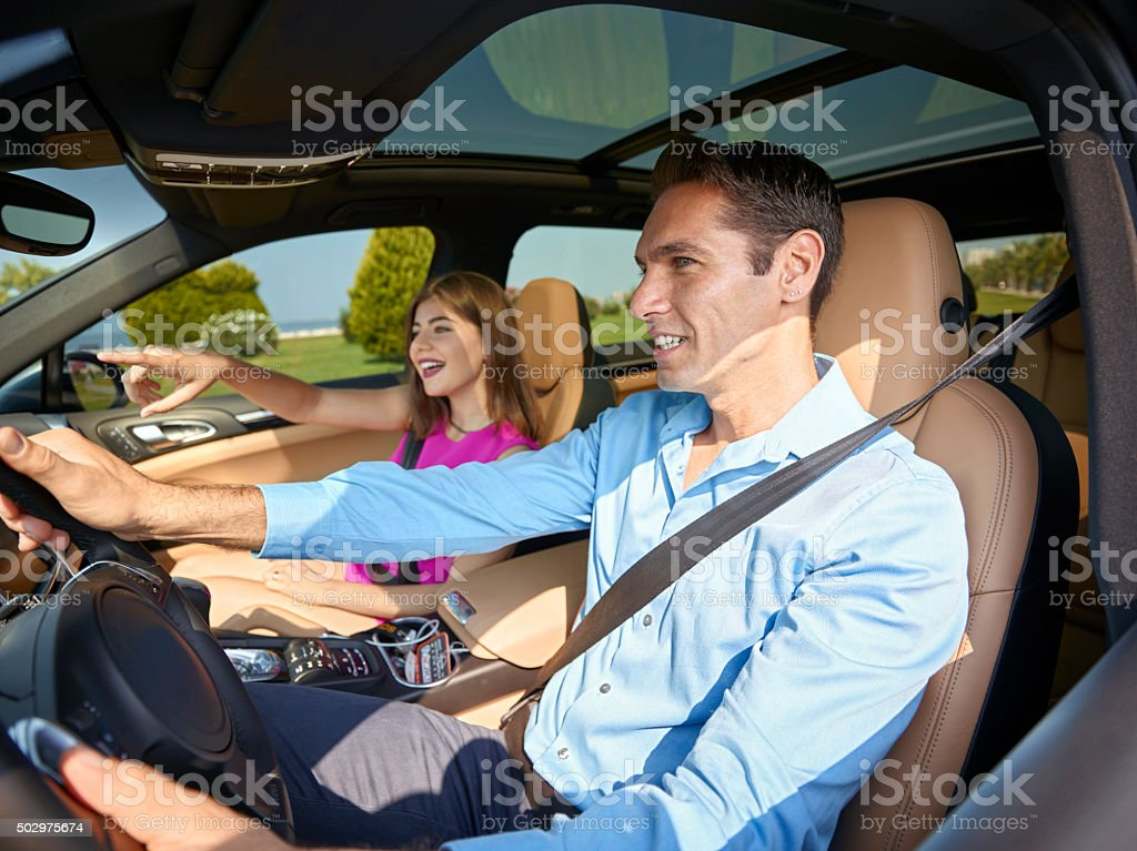 Couple going on a road trip stock photo