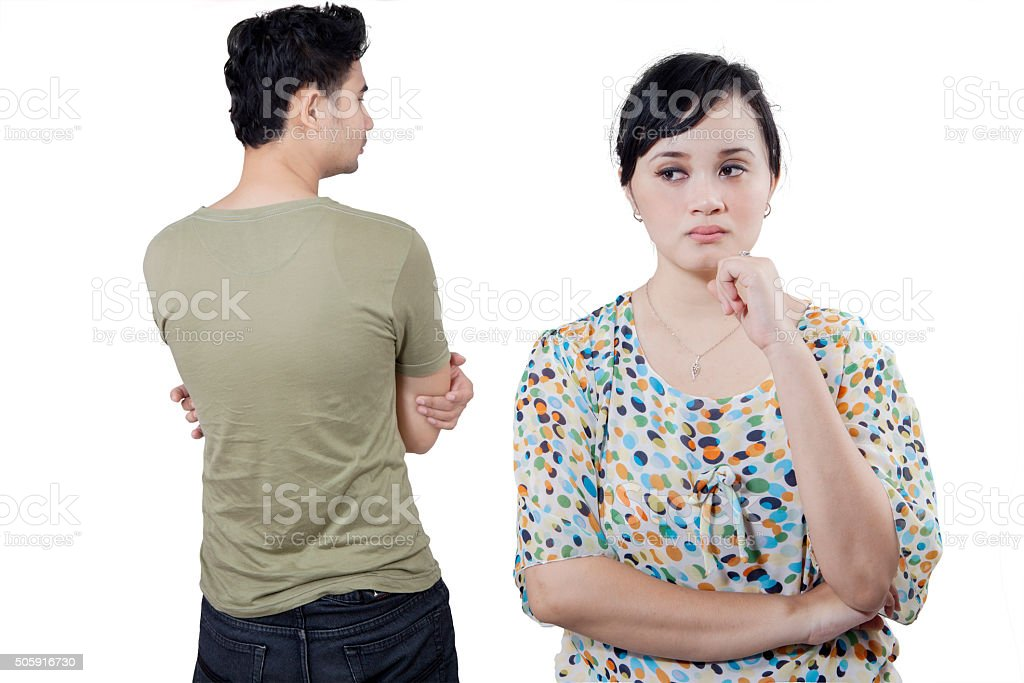 Couple hate each other after quarreling stock photo