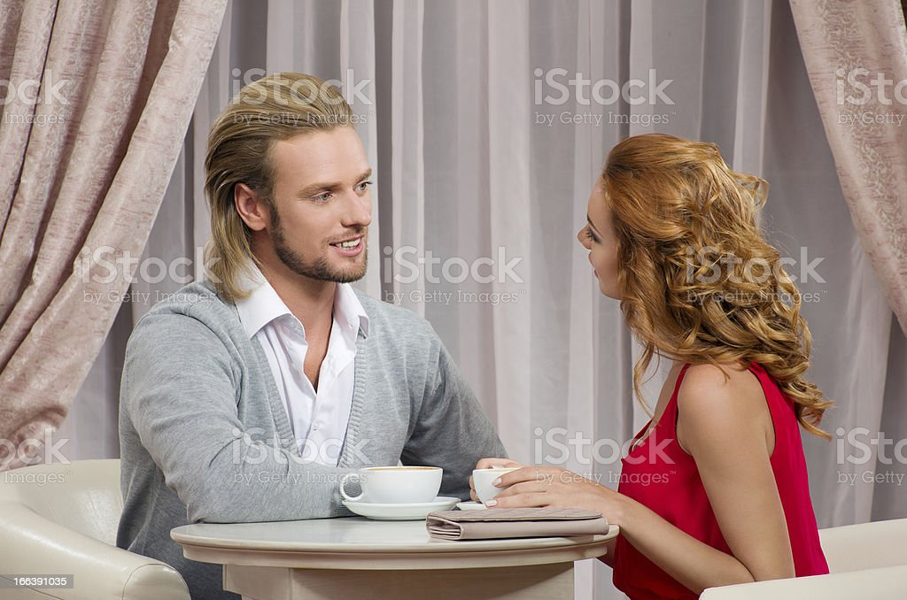 Couple have talking in restaraunt royalty-free stock photo