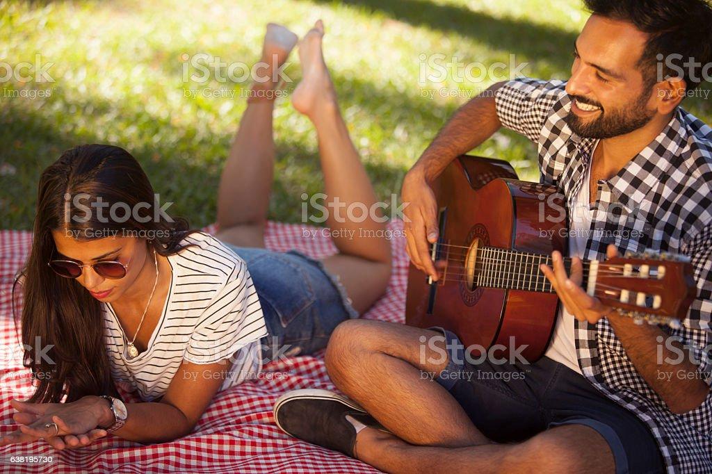 Couple having a good time stock photo