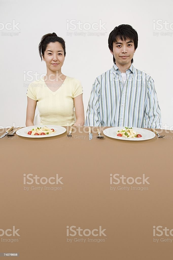 Couple having a meal stock photo