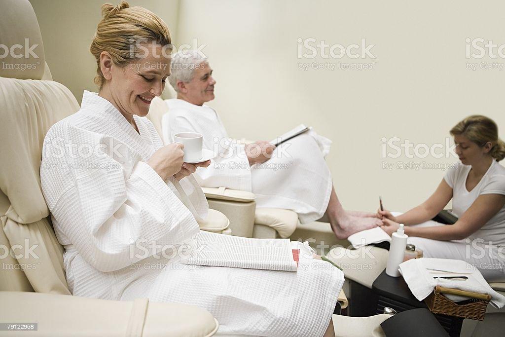 Couple having a treatment at a health spa royalty-free stock photo