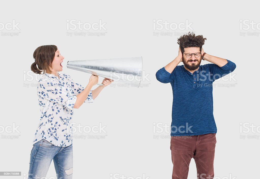 Couple having communication problems stock photo