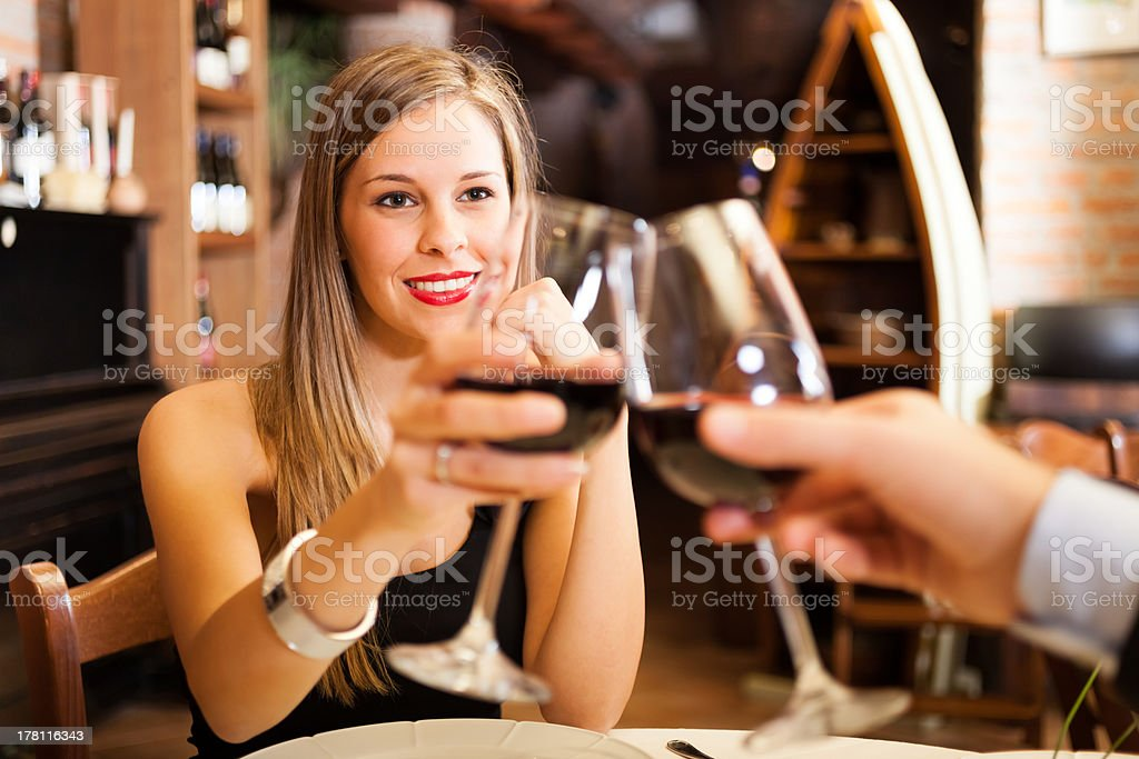 Couple having dinner in a restaurant royalty-free stock photo