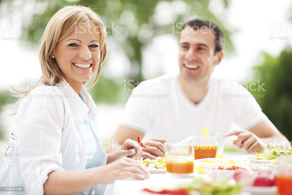 Couple having dinner outdoors royalty-free stock photo