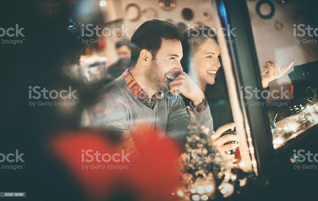 Couple having fun at coffee house. stock photo