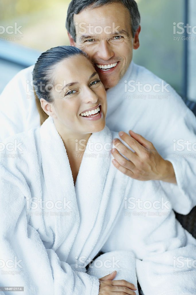 Couple having fun at spa royalty-free stock photo