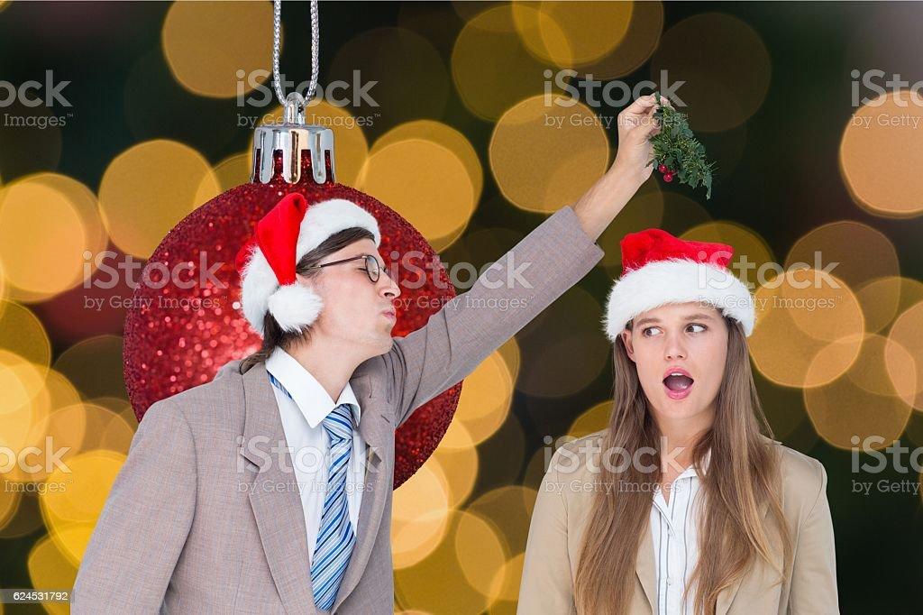 Couple having fun during christmas time stock photo