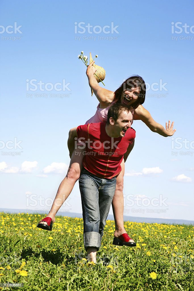 Couple having fun in a meadow royalty-free stock photo