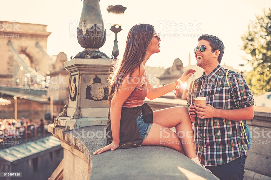 Couple having fun in summer afternoon stock photo
