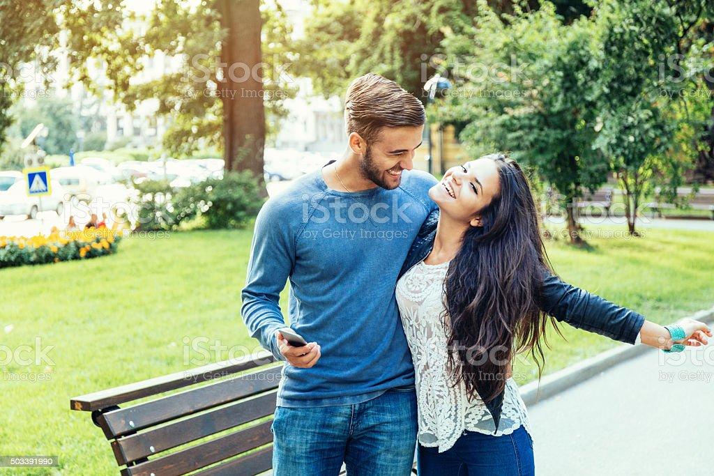 Couple having fun in the city stock photo